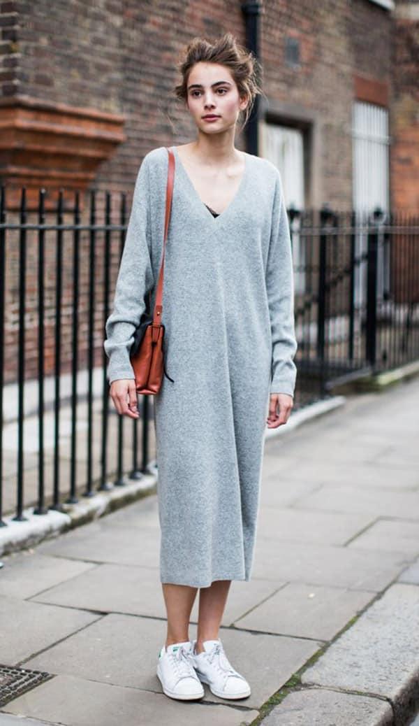 street-style-look-vestido-cinza-midi-bolsa-marrom